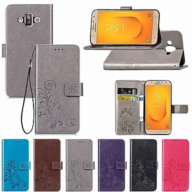 voordelige Galaxy J-serie hoesjes / covers-hoesje Voor Samsung Galaxy J7 Duo / J7 Prime / J7 (2018) Portemonnee / met standaard / Flip Volledig hoesje Effen / Vlinder / Bloem Hard PU-nahka