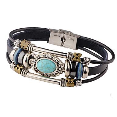 voordelige Heren Armband-Heren Turkoois Lederen armbanden geweven Gepersonaliseerde Vintage Leder Armband sieraden Zwart / Bruin Voor Causaal Toneel