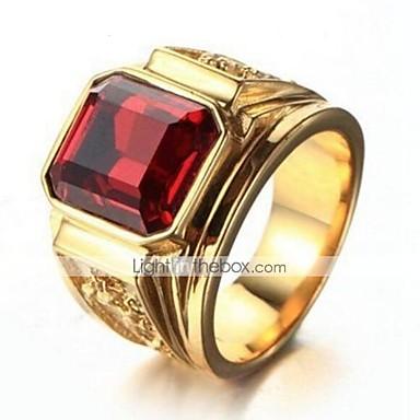 זול טבעות-בגדי ריקוד גברים סגנון וינטג' טבעת הטבעת ציפוי זהב יָקָר מסוגנן וינטאג' Fashion Ring תכשיטים שחור / אדום עבור יומי עבודה 9 / 10