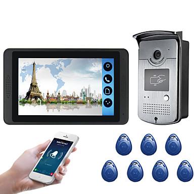 povoljno Sustavi kontrole pristupa-618mjids11 7-inčni kapacitivni zaslon osjetljiv na dodir video kamera ožičeni video zvono wifi / 3g / 4g daljinski otključavanje poziva spremnik vanjski stroj funkcija kartice
