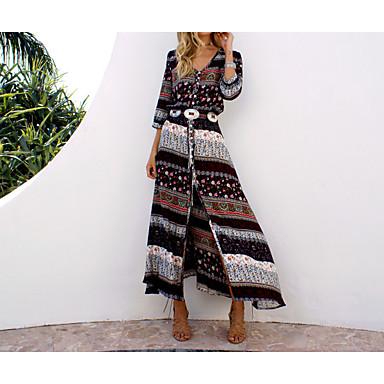7af6a233da0e cheap Print Dresses-Women's Boho Plus Size Holiday Beach Boho Maxi Tunic  Sundress