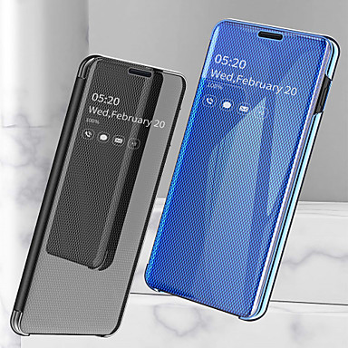 Недорогие Чехлы и кейсы для Galaxy Note-Кейс для Назначение SSamsung Galaxy Note 9 / Note 8 Защита от удара / Покрытие / Зеркальная поверхность Чехол Однотонный Твердый Кожа PU