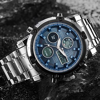 Недорогие Часы на металлическом ремешке-ASJ Муж. Спортивные часы Наручные часы электронные часы Японский Кварцевый Нержавеющая сталь Белый 30 m Защита от влаги Секундомер ЖК экран Аналого-цифровые Мода Нарядные часы - Белый Черный Синий