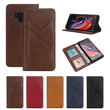 voordelige Galaxy Note-serie hoesjes / covers-hoesje Voor Samsung Galaxy Note 9 Portemonnee / Kaarthouder / Schokbestendig Volledig hoesje Lijnen / golven Hard aitoa nahkaa