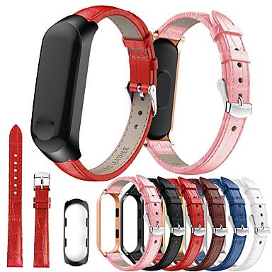 Недорогие Аксессуары для смарт-часов-умные часы замена кожаный браслет металлический каркас чехол для xiaomi band 4