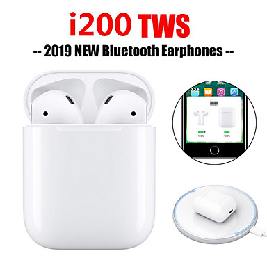 billige Hodetelefoner-i200 tws pop up berøringsfunksjon trådløs lading øreplugger Bluetooth 5,0 6d bass øretelefon