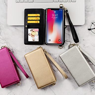 Недорогие Кейсы для iPhone-Кейс для Назначение Apple iPhone XS / iPhone XR / iPhone XS Max Кошелек / Бумажник для карт / со стендом Чехол Однотонный Кожа PU