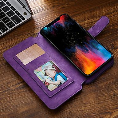 Недорогие Кейсы для iPhone-Кейс для Назначение Apple iPhone XR Кошелек / Бумажник для карт / Флип Чехол Однотонный Кожа PU