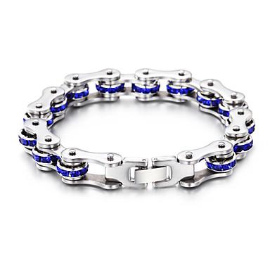voordelige Heren Armband-Heren Dames Blauw Armband Schakelketting Fietsen Punk Roestvast staal Armband sieraden Zilver Voor Dagelijks Schoolfeest Straat Club Festival