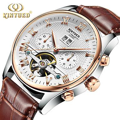 Недорогие Часы на кожаном ремешке-подлинное золото kinyued yueda швейцария автоматические полые турбийон механические часы manjyd-j012