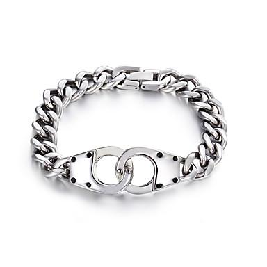 voordelige Heren Armband-Heren Dames Armband Schakelketting Fietsen Europees Titanium Staal Armband sieraden Zilver Voor Feest Lahja Dagelijks Straat Club