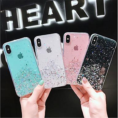 voordelige iPhone-hoesjes-hoesje voor apple iphone xs / iphone xr / iphone xs max / x / 6/7 / 6plus / 7plus doorschijnend / patroon achterkant transparant / sky pu leer