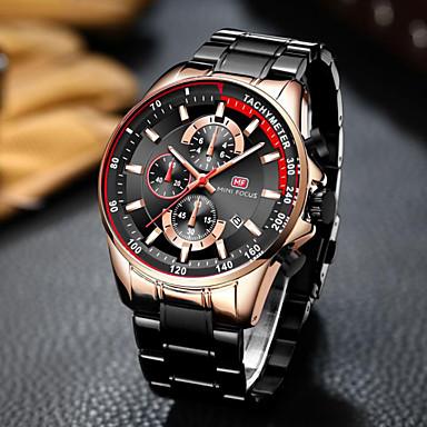 cheap Luxury Watch-Men's Dress Watch Quartz Watches Japanese Quartz Three-eye Six-needle Stainless Steel Black / Blue / Silver 30 m Calendar / date / day Stopwatch Noctilucent Analog Luxury Sports Fashion fancy - Black