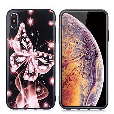 voordelige iPhone X hoesjes-hoesje Voor Apple iPhone XS / iPhone XR / iPhone XS Max Strass / Ultradun / Patroon Achterkant Vlinder TPU