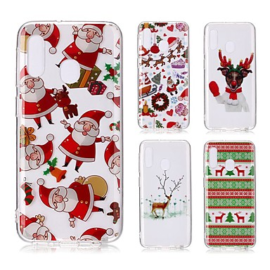 voordelige Galaxy A-serie hoesjes / covers-hoesje voor Samsung Galaxy A6 (2018) / A6 (2018) / A8 2018 Transparant / Patroon Achterkant Kerst TPU voor Samsung Galaxy A10 / A20 / A20E / A30 / A40 / A50 / A60 / A70 / A8 Plus