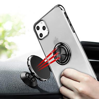 voordelige iPhone-hoesjes-hoesje Voor Apple iPhone 11 / iPhone 11 Pro / iPhone 11 Pro Max Beplating / Ringhouder Achterkant Transparant TPU / Metaal