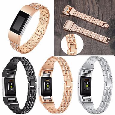 voordelige Smartwatch-accessoires-horlogeband polsband voor fitbit charge 2 metalen roestvrijstalen strass armband polsband