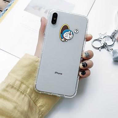 voordelige iPhone 6 Plus hoesjes-hoesje Voor Apple iPhone XS / iPhone XR / iPhone XS Max Schokbestendig / Ultradun / Doorzichtig Achterkant Spelen met Apple-logo / Woord / tekst / Cartoon TPU