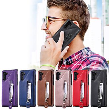 voordelige Galaxy Note-serie hoesjes / covers-hoesje voor samsung galaxy note 9 / note 8 / note 10 portemonnee / kaarthouder / met standaard achtercover effen gekleurd pu leer voor note 10 / note 10 plus / note 9 / note 8
