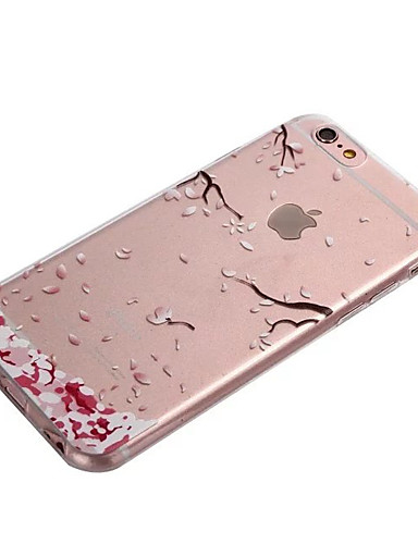 cheap iPhone Cases-Case For Apple iPhone 8 / iPhone 8 Plus / iPhone 6 Plus Transparent Back Cover Flower Soft TPU for iPhone 8 Plus / iPhone 8 / iPhone 7 Plus