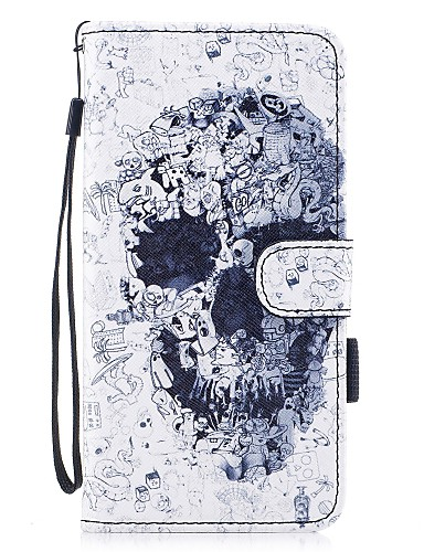 cheap iPhone Cases-Case For Apple iPhone 7 / iPhone 7 Plus Wallet / Card Holder / with Stand Full Body Cases Skull Hard PU Leather for iPhone 7 Plus / iPhone 7 / iPhone 6s Plus
