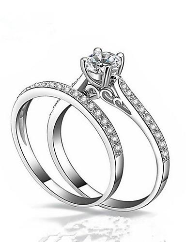ราคาถูก เครื่องประดับผู้ชาย-สำหรับคู่รัก Cubic Zirconia แหวนคู่ - แฟชั่น เครื่องประดับ ขาว สำหรับ งานแต่งงาน ของขวัญ เสื้อผ้าที่สวมไปงานเต้นรำสวมหน้ากาก งานหมั้น Prom การ์ดแสดงความรัก 6 / 7 / 8 / 9 / 10 2pcs