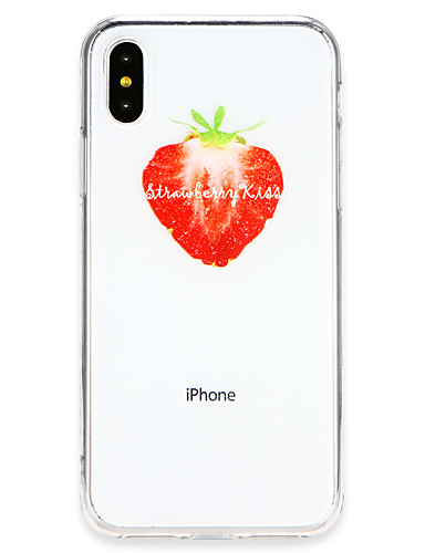 cheap iPhone Cases-Case For Apple iPhone X / iPhone 8 Ultra-thin Back Cover Playing with Apple Logo / Fruit Soft TPU for iPhone X / iPhone 8 Plus / iPhone 8