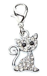 Cat Dog Tag Rhinestone Cartoon Silver Alloy