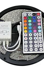 5 m RGB-lysstriper Lyssett Fleksible LED-lysstriper LED Fjernkontroll Kuttbar Mulighet for demping Vanntett Selvklebende Koblingsbar DC