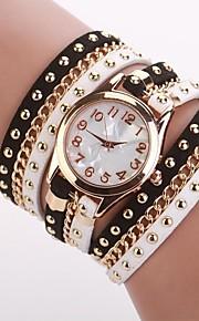 Mulheres Relógio de Moda Bracele Relógio Quartzo PU Banda Preta Branco