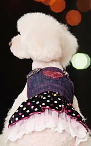 강아지 드레스 강아지 의류 도트무늬 청바지 블루 면 코스츔 애완 동물 여성용 코스프레