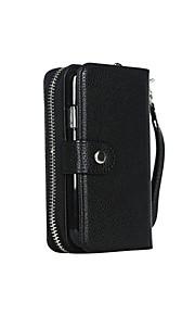 fodral Till Samsung Galaxy Samsung Galaxy-fodral Plånbok Fodral Ensfärgat PU läder för S7 edge S7 S6 edge S6 S5 S4