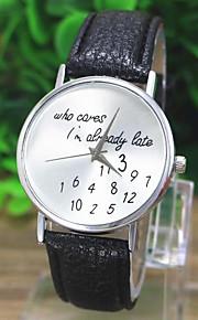 Mulheres Relógio de Moda Relógio de Pulso Quartzo Padrão Mapa do Mundo PU Banda Casual Relógios com Palavras Preta Branco VerdeBranco