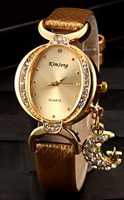 Mulheres Relógio de Moda Bracele Relógio Simulado Diamante Relógio Quartzo imitação de diamante PU Banda Brilhante Preta Branco Vermelho