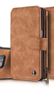 Etui Käyttötarkoitus Samsung Galaxy Samsung Galaxy S7 Edge Korttikotelo Lomapkko Flip Suojakuori Yhtenäinen väri Kova aitoa nahkaa varten