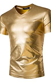 Ανδρικά T-shirt Αθλητικά Βασικό / Εξωγκωμένος - Βαμβάκι Μονόχρωμο Λεπτό Χρυσό L / Κοντομάνικο