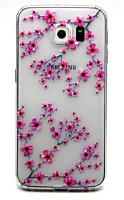 Per Samsung Galaxy S7 Edge Transparente / Decorazioni in rilievo Custodia Custodia posteriore Custodia Fiore decorativo TPU SamsungS7