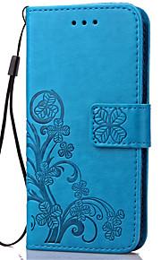 fodral Till Samsung Galaxy Samsung Galaxy-fodral Korthållare Plånbok med stativ Lucka Läderplastik Fodral Blomma Mjukt PU läder för J7