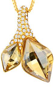 farverige rhinestone 18k guld / platin forgyldt klar uregelmæssig slebet krystal rhombus vedhæng halskæde til kvinder p30168