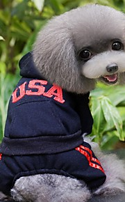 Autumn and Winter Sport Style USA Pattern Cotton Clothes for Pets Dogs Dogs Clothing Hoodies Dog Jumpsuits