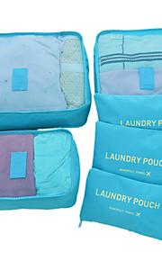 6 مجموعات حقيبة السفر / منظم السفر / منظم أغراض السفر سعة كبيرة / مقاوم للماء / خفيف جدا (UL) الأقمشة غير المنسوجة السفر