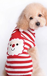 Autumn and Winter Christmas Santa Claus Red and White Striped Cartoon Dog Sweater Dog Clothes for Pet Dogs