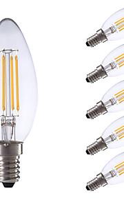 E14 LED-glødepærer B 4 leds COB Mulighet for demping Varm hvit Kjølig hvit 350/400lm 6500/2700K AC 220-240V