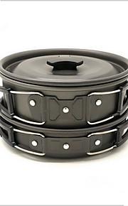 Camping Cookware Mess Kit Camping Pot Camping Fry Pan Sets Compact Aluminium for Camping