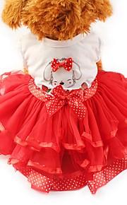 Katze Hund Smoking Kleider Hundekleidung Schleife Gelb Rot Grün Chiffon Baumwolle Kostüm Für Haustiere Damen Party Lässig/Alltäglich