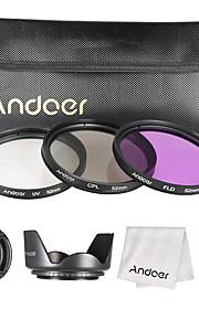 Andoer 52mm filter kit (uv cpl fld) nylonbag lomme linsedæksel lomme hættetrøje objektiv hætte linsen rengøring klud