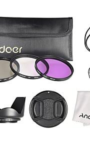 Andoer 62mm filter kit (uv cpl fld) nylonbag lomme linsedæksel lomme hættetrøje objektiv hætte linsen rengøring klud