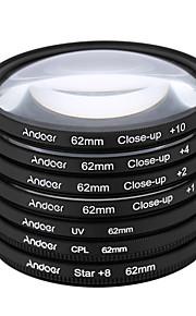 Andoer 62mm uv cpl star8close-up (1 2 4 10) fotofilter ultraviolet cirkulærpolariserende stjerne 8-punkts makro nærbillede objektivfilter