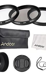 Andoer 49mm objektivfilter kit uv cpl star8 med objektiv tilbehør