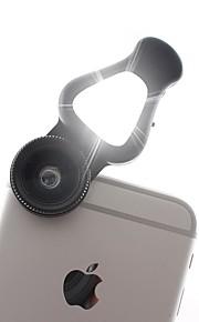 Lente do telefone celular 3 em 1 com luz de flash led Lente macro de 15x&Lente grande angular de 0,62x&Lente de fisheye de 205